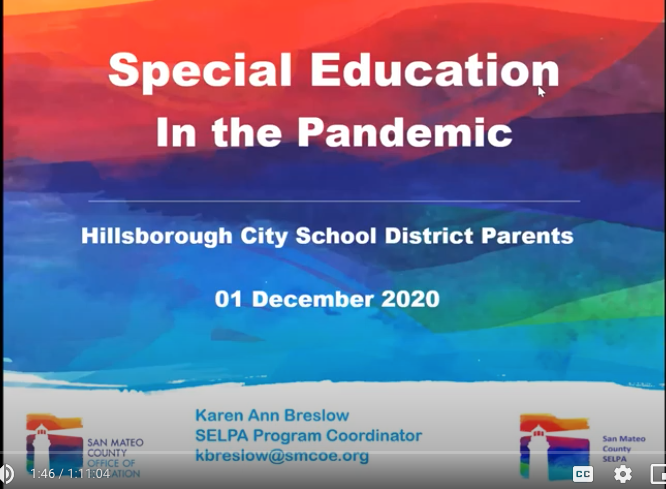 "Recording of Dec.1st RISE Parent Ed Event ""IEPs in the Time of COVID-19"" with Karen Breslow"